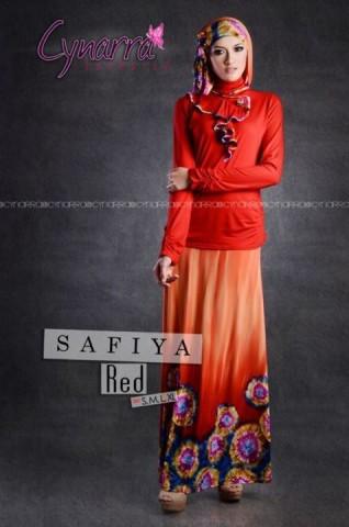 gamis model terbaru SAFFIA BY CYNARRA Red 2