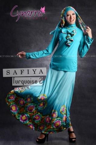 gamis trendy masa kini SAFFIA BY CYNARRA Turquiose 2.
