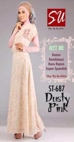 gamis pesta elegan dan mewah STEP UP AFSAR Dusty Pink