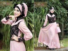 baju diner muslimah ANGEL SHINE by Fitria Dusty Pink