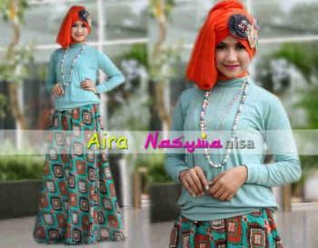 baju muslim yang sedang trend saat ini  Aira by Nasywannisa Biru Tosca