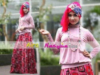 baju muslim rabbani  Aira by Nasywannisa Dusty Pink
