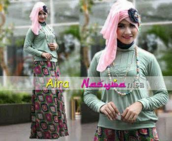 baju muslim rabbani dewasa  Aira by Nasywannisa Hijau Telur Asin