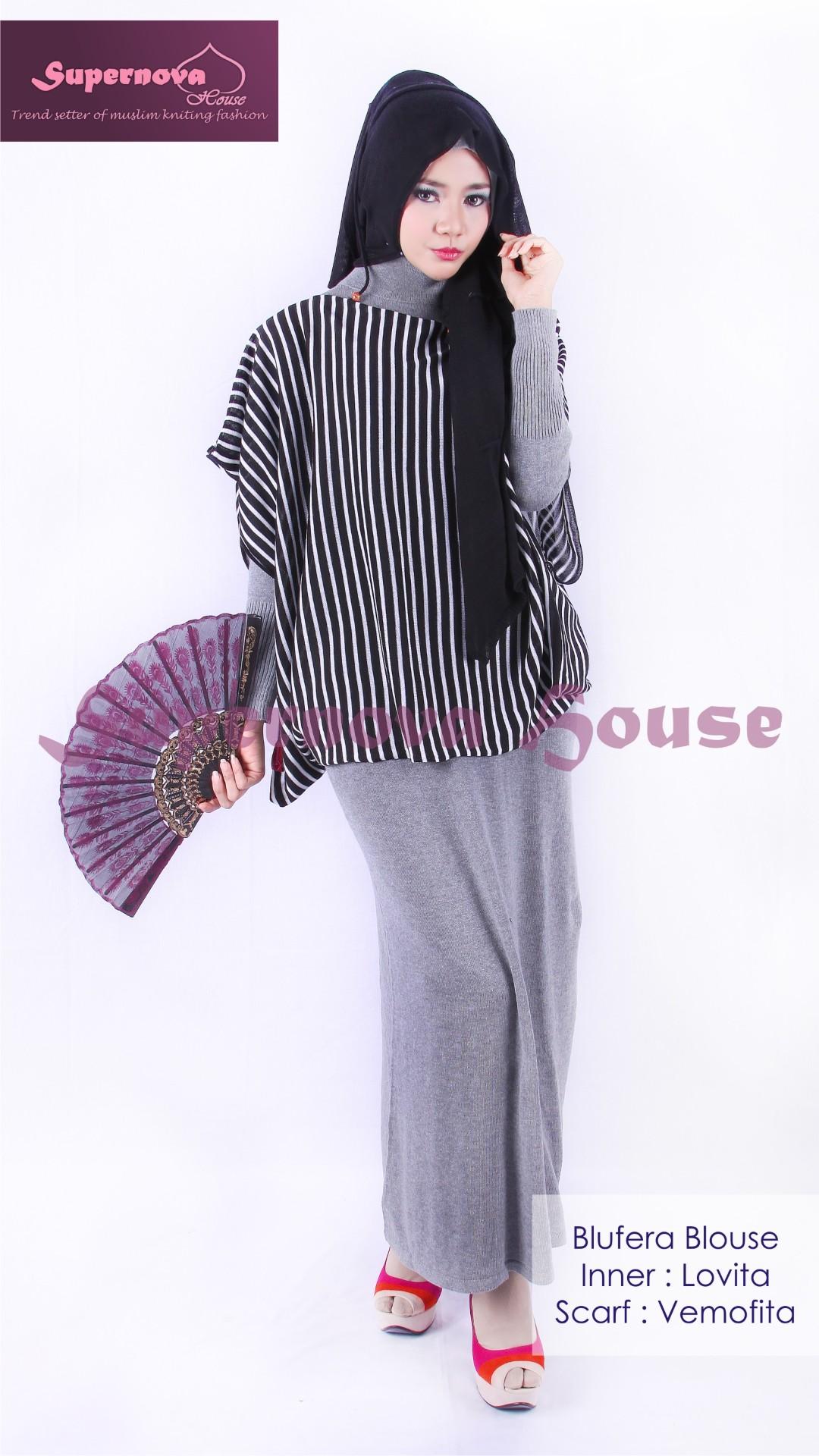 Blufera Blouse Hitam Putih Baju Muslim Gamis Modern