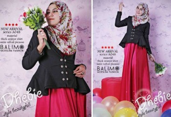 busana muslim fashion grosir  Balimo Dhebie Black Red