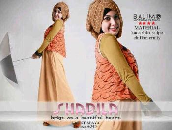 baju muslim grosir online Balimo Shabila Orange