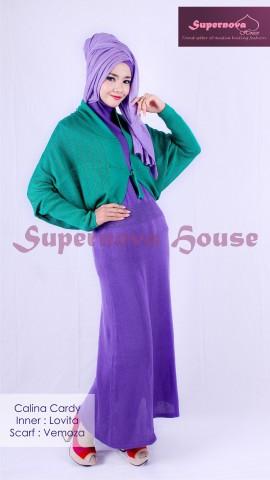 baju gaun muslim terbaru  Calina Cardi Hijau Tosca