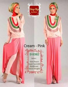 baju muslim gaya  Cream Pink