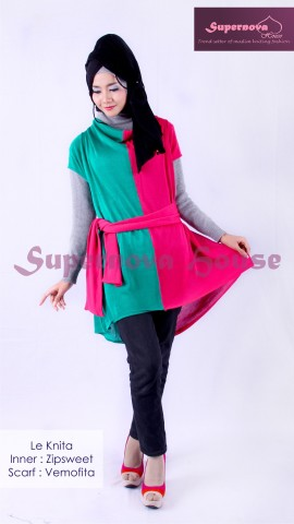 model busana muslim gaun  Le knita Tosca turkis Magenta