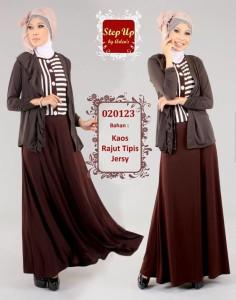 pakaian pesta muslimah Pusat-Gamis-Terbaru-Step-Up-Leila-Coklat