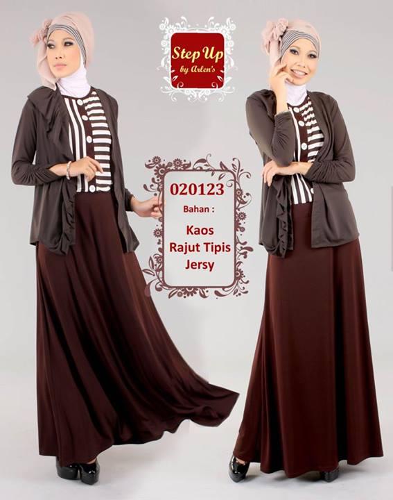 Step Up Leila Coklat Baju Muslim Gamis Modern