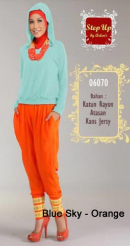 baju muslimah modern dan modis  STEP UP STREACH Blue Sky Orange