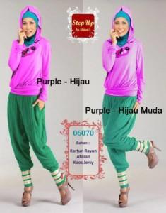 baju muslim anak perempuan  STEP UP STREACH Purple hijau