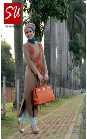 baju batik muslim untuk kerja  STEP UP TUNIQUE Coklat