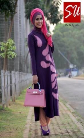 model baju muslimah untuk kerja  STEP UP TUNIQUE  Dark Purple