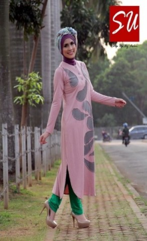 baju muslim yang lagi trend  STEP UP TUNIQUE Dusty Pink
