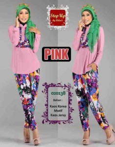 baju muslim hijab terbaru  Step Up KAFIAH Pink