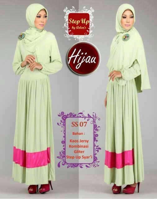 Step Up Syarifah Hijau Baju Muslim Gamis Modern