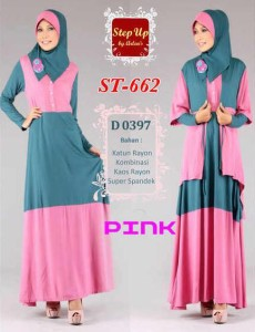 busana gamis pesta Step up NURMA Pink