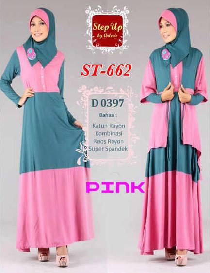 Step Up Nurma Pink Baju Muslim Gamis Modern