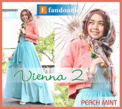 baju muslimah pesta  Vienna 2 by Efan doank Peach Mint
