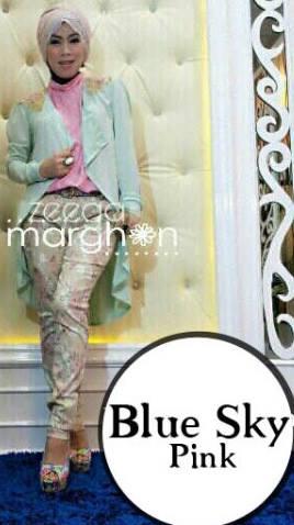 baju muslim kantor modis  ZEEGA by Marghon Blue Sky Pink
