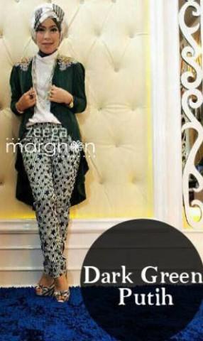 baju muslimah kain sifon  ZEEGA by Marghon Dark Green Putih
