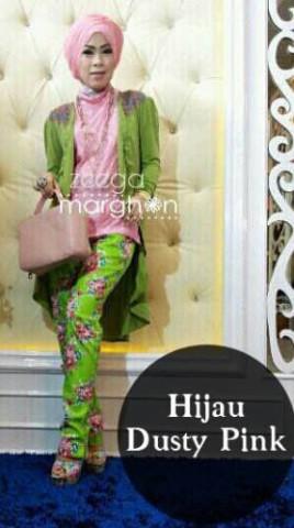 baju diner muslimah  ZEEGA by Marghon Hijau Dusty Pink
