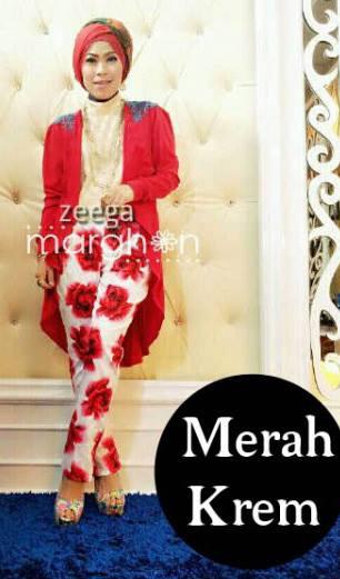 baju muslim elegan online  ZEEGA by Marghon Merah Kreem