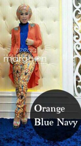 baju muslimah fashion  ZEEGA by Marghon Orange navy