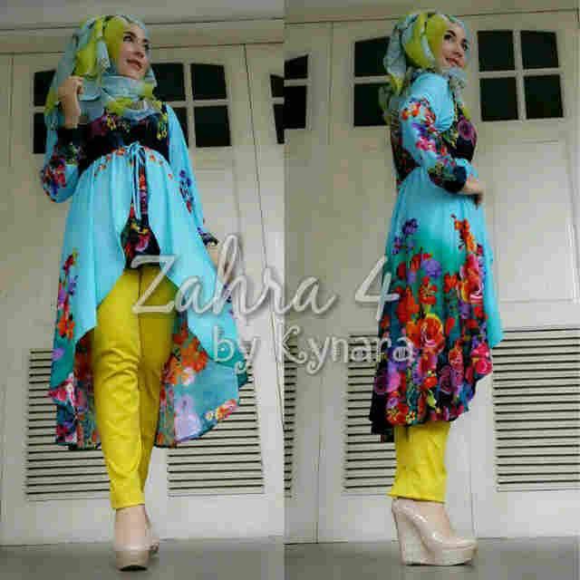 Zahra 4 By Kynara Biru Baju Muslim Gamis Modern