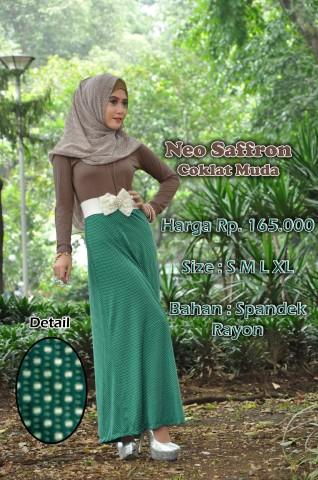 busana hijabers terbaru neo saffron coklat muda