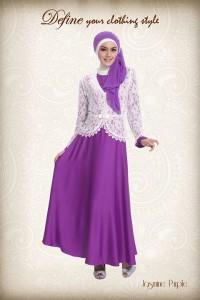 baju gamis hijab Aini Jasmine Purple