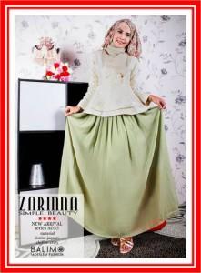 baju muslimah online Balimo Zarinna Cream Green