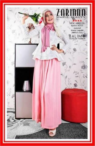 baju muslim pesta  Balimo Zarinna White Pink