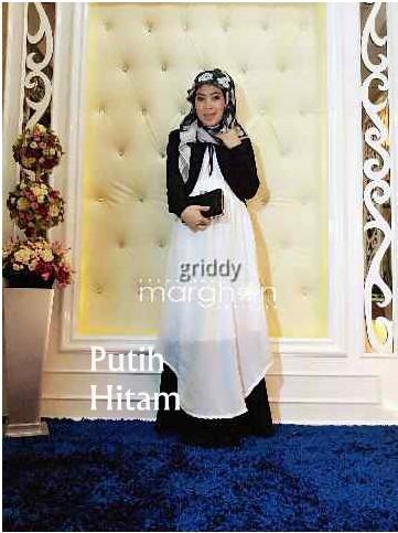 Gridie By Marghon Hitam Putih Baju Muslim Gamis Modern