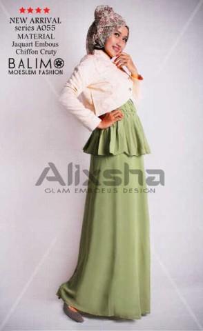 baju muslim elegan  Pusat-Gamis-Terbaru-Balimo-Alixsha-Green
