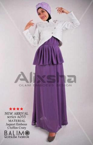 model baju yang tren saat ini baju muslim atasan wanita  Pusat-Gamis-Terbaru-Balimo-Alixsha-White