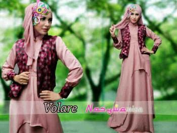 busana muslim elegant Pusat-Gamis-Terbaru-Volare-Dusty-Pink-by-Nasywanisa