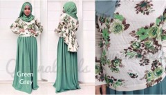 baju muslimah online shop  QUEENA PRISIA Green Grey