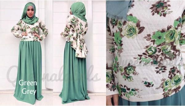 Queena Prisia Grey Baju Muslim Gamis Modern