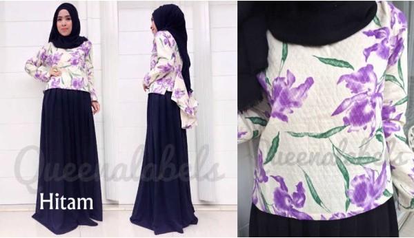 Queena Prisia Hitam Baju Muslim Gamis Modern