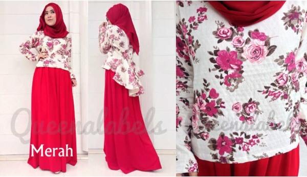 Queena Prisia Merah Baju Muslim Gamis Modern