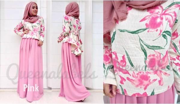 Queena Prisia Pink Baju Muslim Gamis Modern