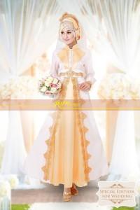 baju muslim pesta wanita  Rajna 11 White Gold