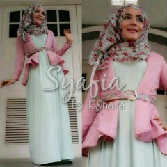 baju muslim terbaru  Syafia by Kynara Pink