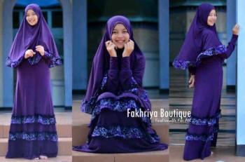 busana hijab online Zahwa by Fakhriya Boutique Ungu