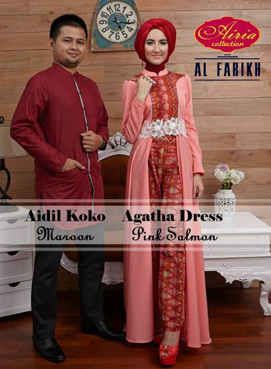 baju muslim modern Pusat-Gamis-Terbaru-Aidil-Maroon-dan-Agatha-Dress-Pink-Salmon-by-Airia-maroon-