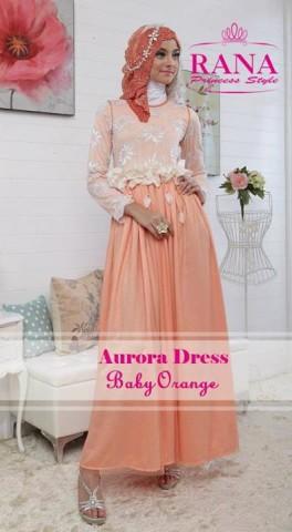 baju muslim cantik modern Pusat-Gamis-Terbaru-Aurora-Dress-by-Rana-Princes-style-Baby-Orange