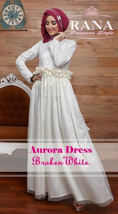 baju muslim modern 2014 Pusat-Gamis-Terbaru-Aurora-Dress-by-Rana-Princes-style-Broken-White